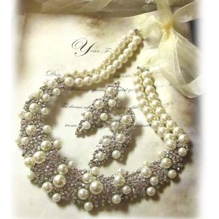 OOAK Bridal Bib Statement Pearl Swarovski Crystal Necklace Earrings Jewelry Set