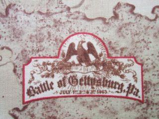 Gettysburg Battle Map Historic Civil War Quilting Treasures Fabric Yard