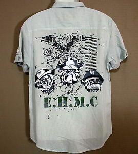 New Mens Ed Hardy Marine Corps Shirt Devil Dogs U s M C M Medium $80