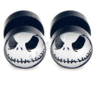 Earring Stud Stainless Steel Ear Plug Halloween Jack Skellington Nightmare 10mm