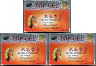 3 Top Gel Papaya Whitening Soap Squalene AHA Collagen