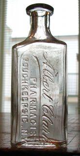 1894 Patented Poughkeepsie NY Old Albert Clark Pharmacist Medicine Bottle