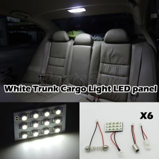6 Pcs 12SMD White Light Panel BA9S T10 Festoon Dome Reading Interior Light