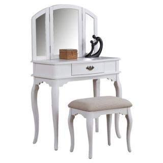Miraculous Bobkona St Croix Collection Vanity Set With Stool White Machost Co Dining Chair Design Ideas Machostcouk