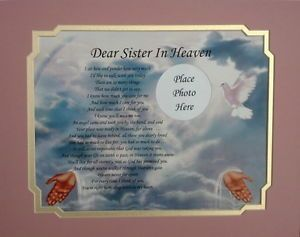 Dear Sister in Heaven Memorial Poem in Loving Memory Endearment Gift