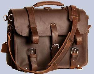 "Extra Large 17"" Thick Saddle Leather Briefcase Messenger Laptop Bag Backpack"