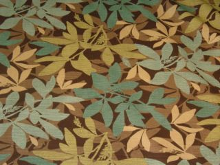 Details about Teal Brown Green Leaf Design Cotton Print Fabric bty