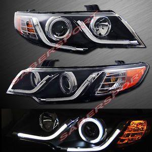 Black CCFL Halo Projector Headlights w LED Bar V2 for 2010 2011 Kia Forte Koup