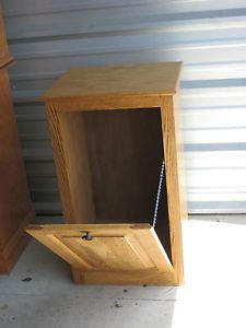 Oak Trash Bin Cabinet Pet Food Trash Recycling Garbage Can Storage Cabinet SHIP