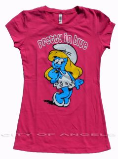 Smurfette Women Funny T Shirt Pretty in Blue Jr Tee Smurfs Cartoon Brand New