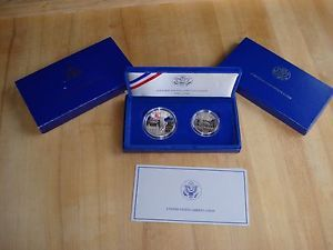1986 Statue of Liberty 2 Coin Proof Box Set Liberty Silver Dollar Clad Half