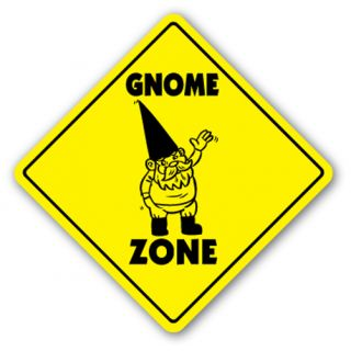 Gnome Zone Sign Novelty Gift Garden Lawn Fantasy Statue Nome Operating System