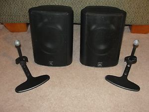 Pair Black Acoustic Research The Edge Indoor Outdoor Speakers w Brackets