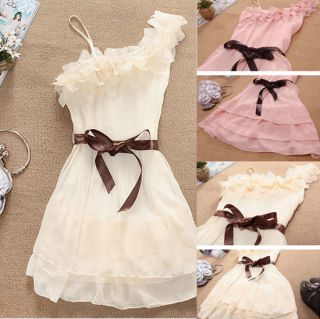Women Girl Cute Single Shoulder Dress Strap Lace Party Club Mini Dress 3 Color