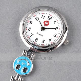 Heart Shape Smile Face Nurse Fob Brooch Pendant Quartz Pocket Watch Blue New