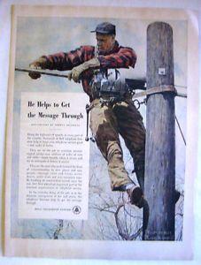 1949 Bell Telephone System Norman Rockwell Art Telephone Lineman Print Ad
