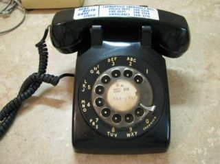 Black Bell System Vintage Rotary Dial Phone Telephone 500DM Untested