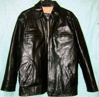 William Barry Genuine Leather Long Sleeve Lined Cotton Polyester Jacket Size L