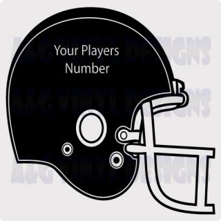 Football Players Helmet with Your Players Number Vinyl Decal Sticker