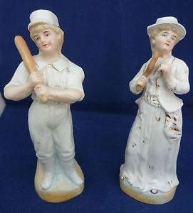 Heubach Style Victorian Bisque Porcelain Figures Baseball Tennis Players