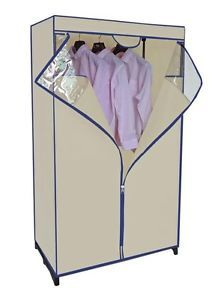 "Portable Closet Storage Organizer Wardrobe Hanger Clothes Garment Rack 36"" Beige"