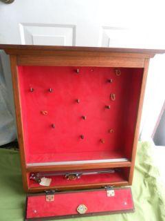 Vintage Wooden Wall Gun Pistol Display Cabinet Pistol Safes Case w Locks Key