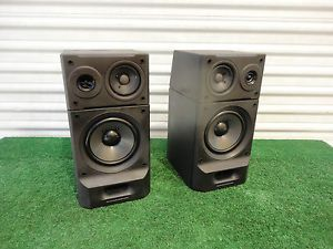 Pair Sony SS H3600 Dual Enclosure Stereo Speaker System Bass Audio Satellite