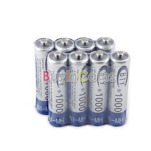 8 x Ni MH AAA 1000mAh 1 2V Rechargeable Battery