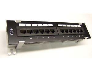 Cat5e 12 Port Pro RJ45 110 Network Mini Patch Panel w Surface Wall Mount Bracket