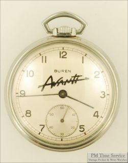 Buren 12S 7J Pocket Watch Stainless Steel Case Avanti Advertising on Dial