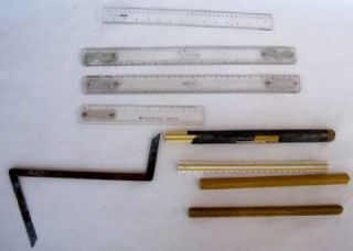 Lot 9 Vintage Rulers 3 Sided Triangular Carpenters Square Drafting Machine Arms