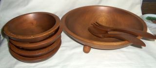 Vtg Mid Century Woodcraftery Wooden Footed Salad Bowl Set 7 PC