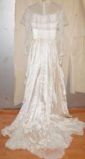 Vintage Wedding Dress Sz 12 Lace Western Loralie Original Cowgirl Cowboy 80'S
