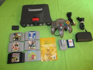 Nintendo 64 N64 Video Game Console Bundle Rumble Pak Expasion Pak Memory 6 Games 018421111519