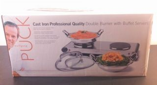 New Wolfgang Puck Cast Iron Professional Quality Double Burner Buffet Servers