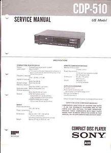 Sony Service Manual Original CDP 510 Free USA SHIP