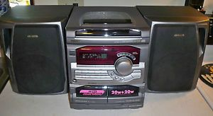 Aiwa CX NA22 3 Disc CD Player Dual Cassette Am FM Radio Shelf Stereo System