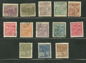 1920 22 Brazil Stamps Complete Set of 13 Different 218 30 U