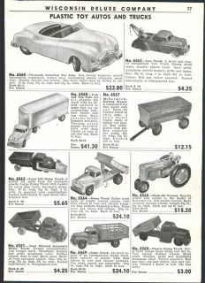 1951 Ad Lithograph Metal Toy Trucks Steam Shovel Crane Train Telephones Tow Dump
