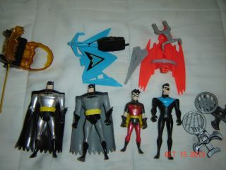 Batman Animated TV Action Figures 1999 Batman Robin Nightwing with Accessories