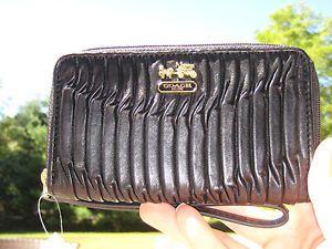 Coach Madison Black Wristlet Universal Case 64998 Authentic Women New Wallet $98
