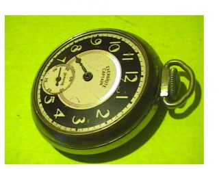 "Old Timers 1940's ""Everbright Captain"" Ingraham Pocket Watch Ticks No Crystal"