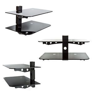 Component Shelf 2 Tier Wall Mount AV DVD Cable Box Game Console TV Stereo Rack