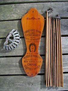 Antique Horse Shoe American Wringer Empire Clothes Hanger Dryer Primitive Wood