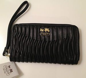 Coach Madison Gathered Leather Wristlet Wallet Universal Case Black