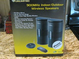 Audio Unlimited Wireless Speakers 900 MHz 2 Speakers Transmitter Remote