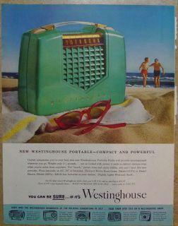 1952 Westinghouse Portable Radio Beach Scene Original Print Ad Goodyear Tires