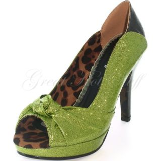"Bettie Page Sexy High Heels 4"" Hot Rod Glitter Peep Toe Pump BP412 Serena Lime"