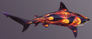 Painted Airbrushed Flamed Fiberglass Bull Shark Mount