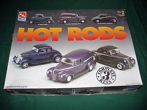 AMT Ertl Hot Rods 3 Car Model Kits 1 25 Scale '34 Ford Coupe '40 Sedan Delivery